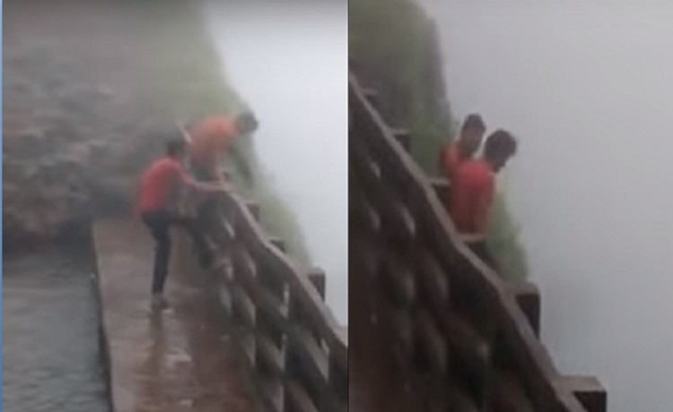 Two men fell into valley at amboli ghat in maharashtra while friends keep recording the incidence