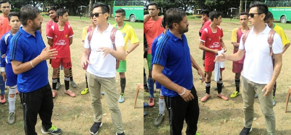 Himachal dharamshala baichung bhutia tips to football players