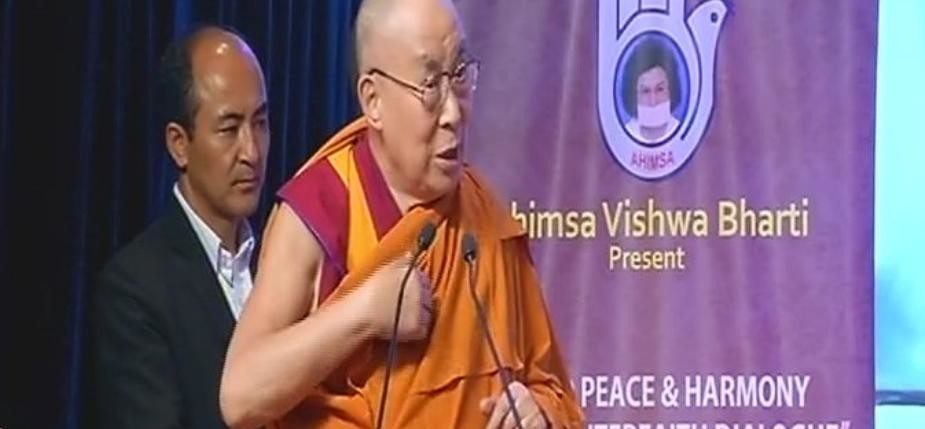 Dalai Lama and Baba Ramdev share a light moment at World Peace & Harmony Conclave in Mumbai
