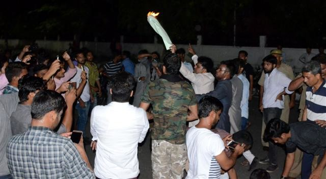 Blow the effigy of Yogi-Siddhartha in AMU, commotion