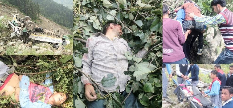 himachal kullu HRTC bus falls into gorge four died