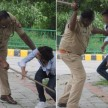 lucknow police beats boys doing stunts on road