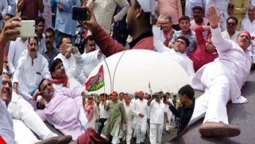 Akhilesh supporters made road to bed