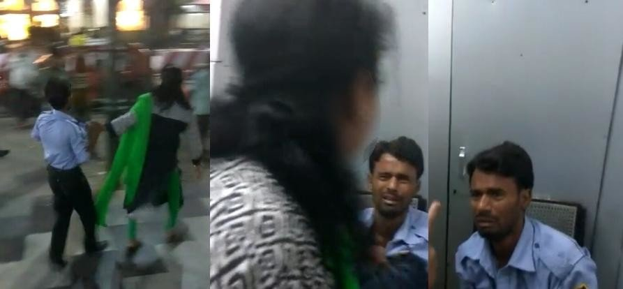 Women beats an ATM guard for making their videos.