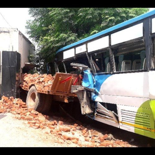 Private Bus collide with JCB and tractor trolley, punjab news