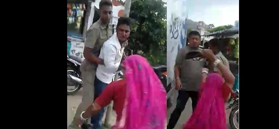 woman beaten up police constables after they tried to stop his drunk son in ajmer