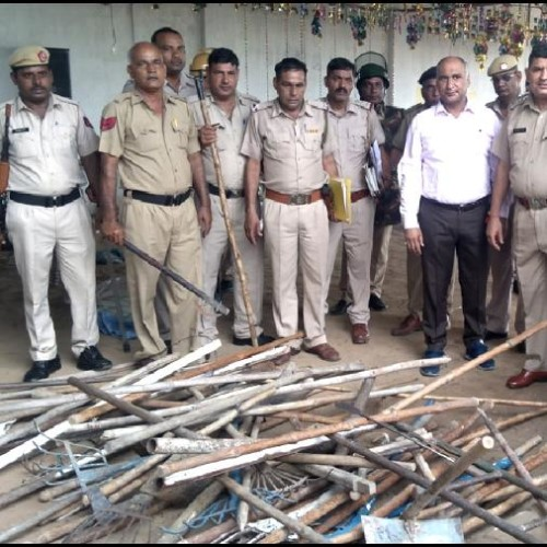 Petrol bombs and sticks found in namcharcha ghar