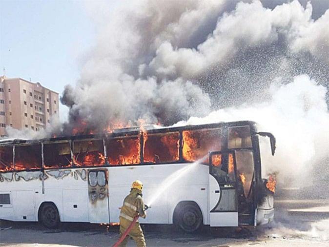 Image result for सवारियों से भरी बस में लगी आग