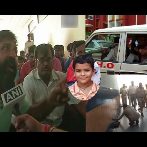 see photos of gurugram ryan international school murder case, angry parents do violence in schooll