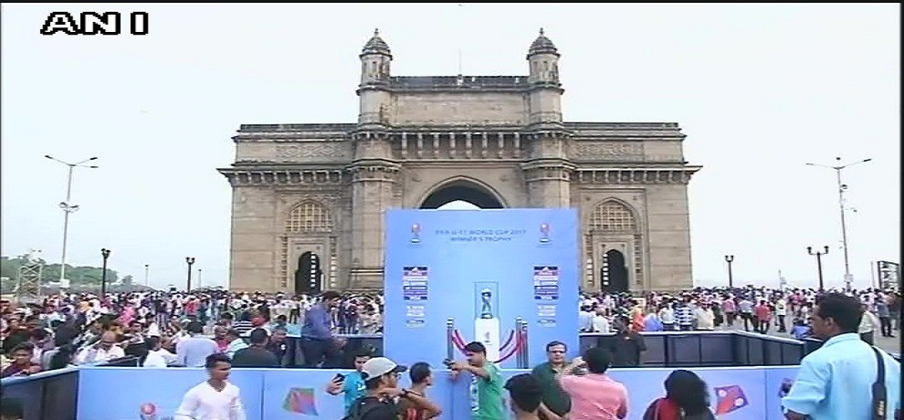 FIFIA under-17 world cup trophy takes spot at gateway of india