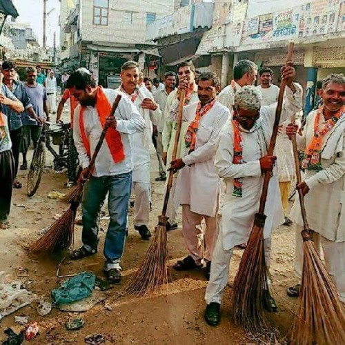after taking photographs with broom officers left the place one by one