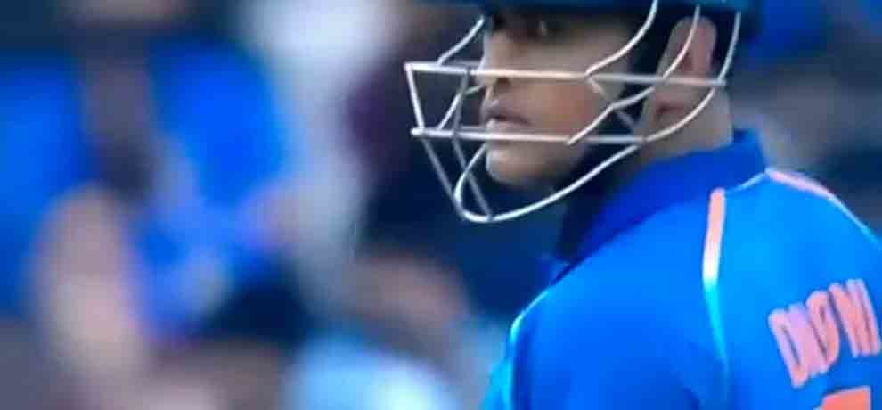 ms dhoni gives a scare look to kedar jadhav after survive a run out