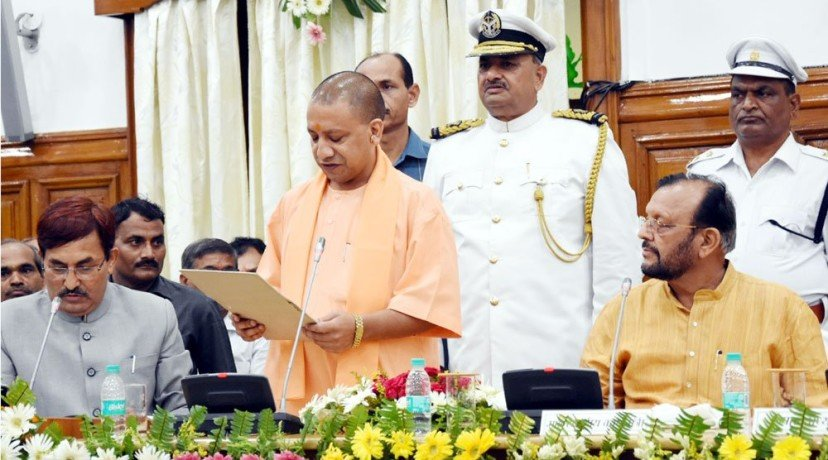 cm yogi, dinesh sharma, keshav maurya take oath for vidhan parishad