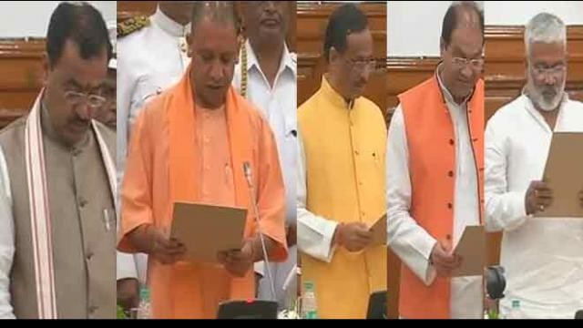 Cm yogi with dinesh sharma keshav maurya take oath for vidhan parishad