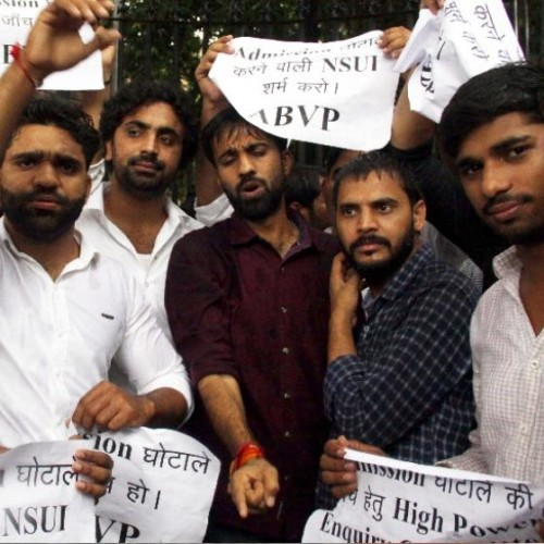 abvp workers did protest against admission of rocky tusheed
