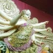 navratri 2017 maa durga wear golden saree in london themed kolkata pandal of santosh mitra square
