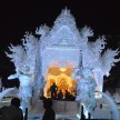 navratri 2017 wat rong khun or white temple of thailand theme based pandal at deshapriya park