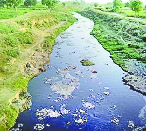 Black river and its contaminated water