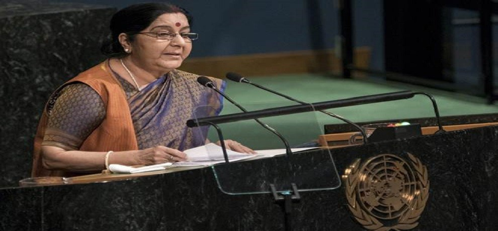 Chinese media says Sushma Swaraj's UN Speech was arrogent and admitted Pak Has Terrorism