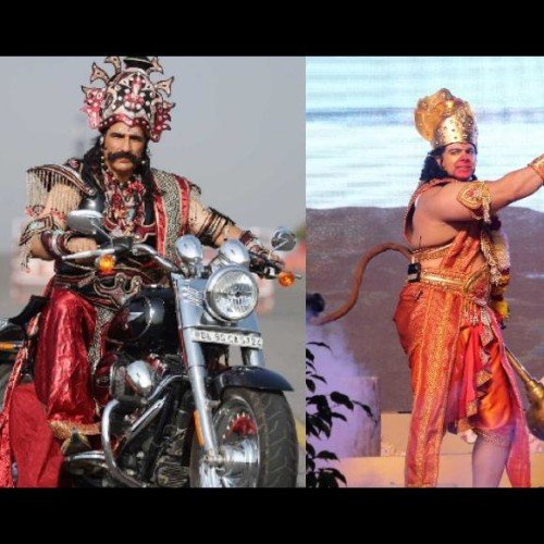actor mukesh rishi playing rawan in delhi ramleela challaned by traffic police for breaking law