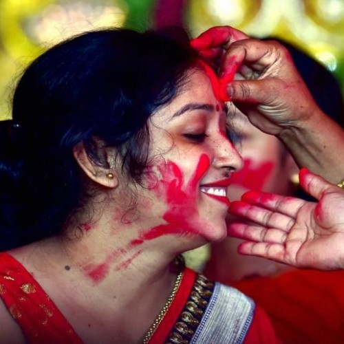 see in pictures maa Durga Statue immersion and sindur holi