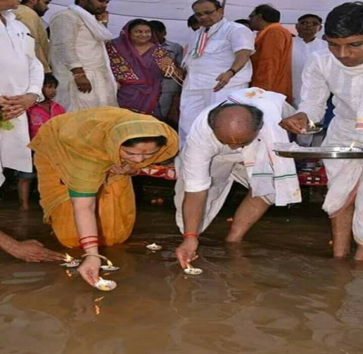 Congress leader Digvijay Singh started six month journey Narmada Parikrama with wife Amrita Rai