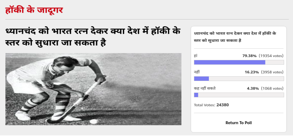amar ujala poll: Hockey will regain its old glory If Dhyan chand Gets Bharat Ratna