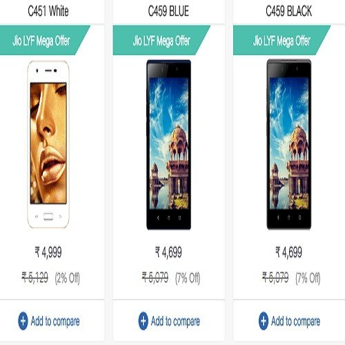 Reliance jio reportedly cut 50 percent price of LYF C459 and LYF C451 smartphones