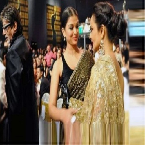 actor amitabh bachchan goes back to see actress rekha in an award show