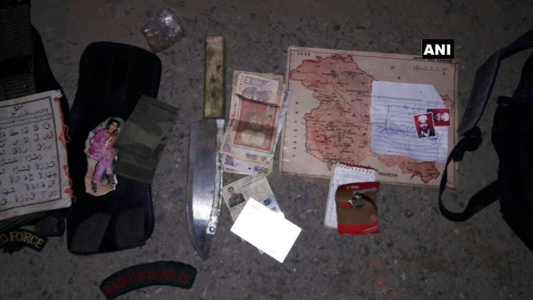 Items recovered by security forces in search operation in Akhnoor