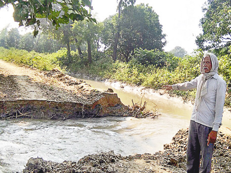 water logging effects crop due to miner cutting