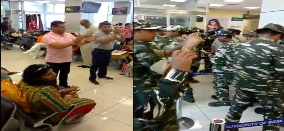 Crpf troops greeted by passengers with a thunderous applause at jammu airport