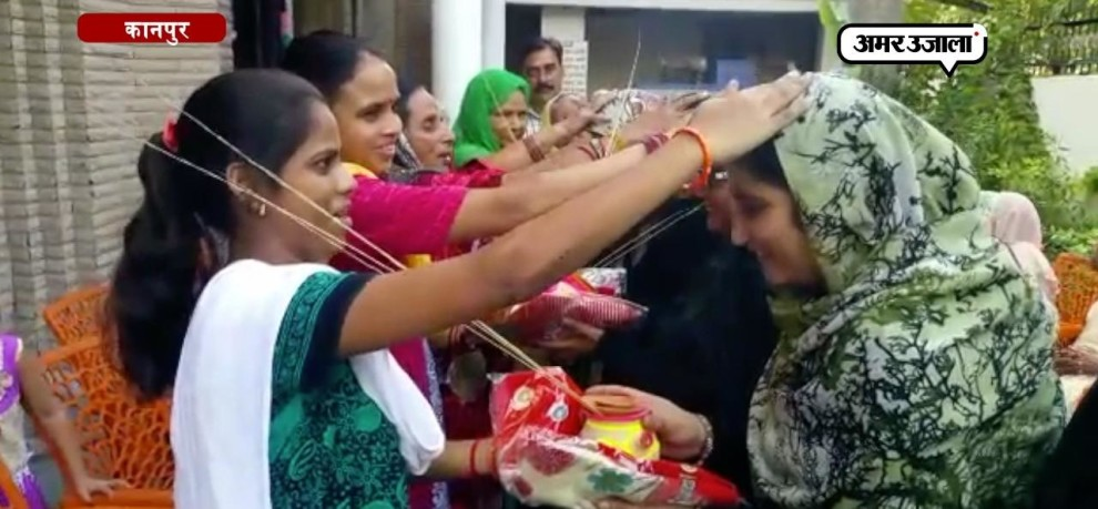muslim women celebrated karwachauth and diwali festival at old age home in Kanpur