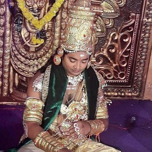 Andhra Pradesh bizarre wedding groom and bride dress up as gods
