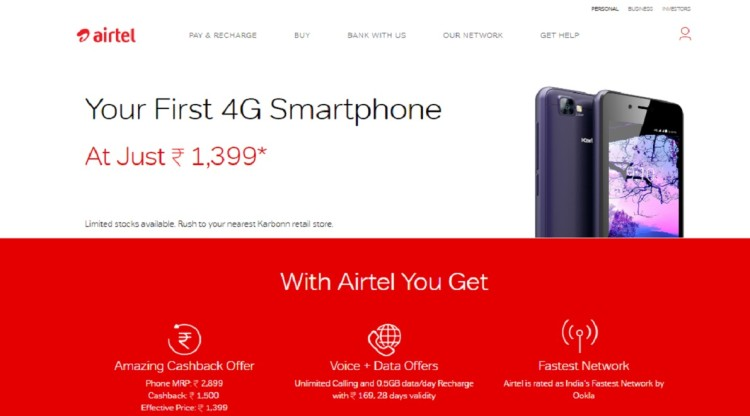 Airtel to launch 4G smartphones effectively Priced at Rs. 1399