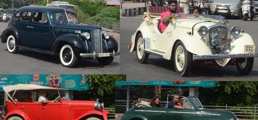 pics of vintage car rally in Lucknow.