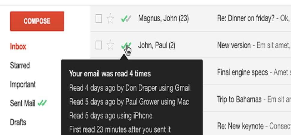 How to know when is your gmail read