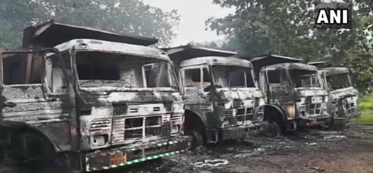 Chhattisgarh Naxals torched 5 vehicles making railway line in Dantewada Kamalur