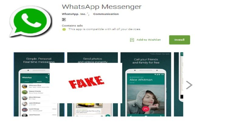 WhatsApp Fake version found on Google Play Store