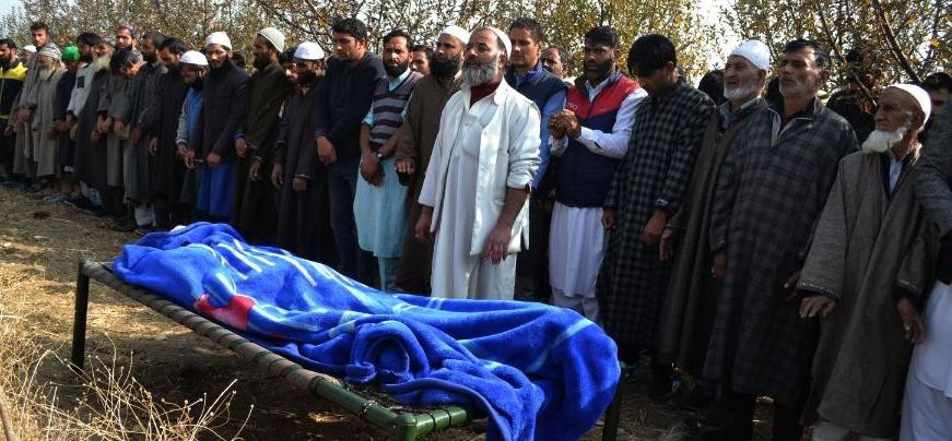Funeral pictures of constable Abdul Salaam who was killed in a militants attack at Rajpora