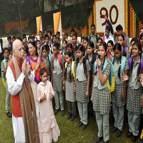 L K Advani celebrated his birthday with blind students PM modi wishes him on twitter