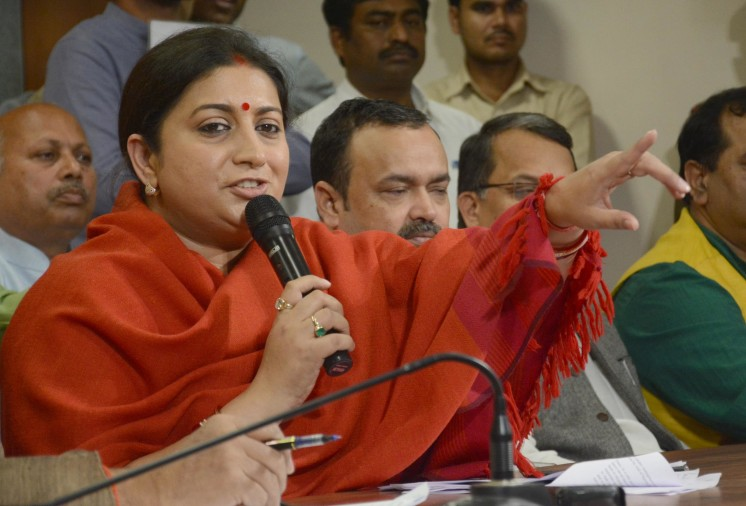 smriti irani press conference on demonitisation in lucknow.
