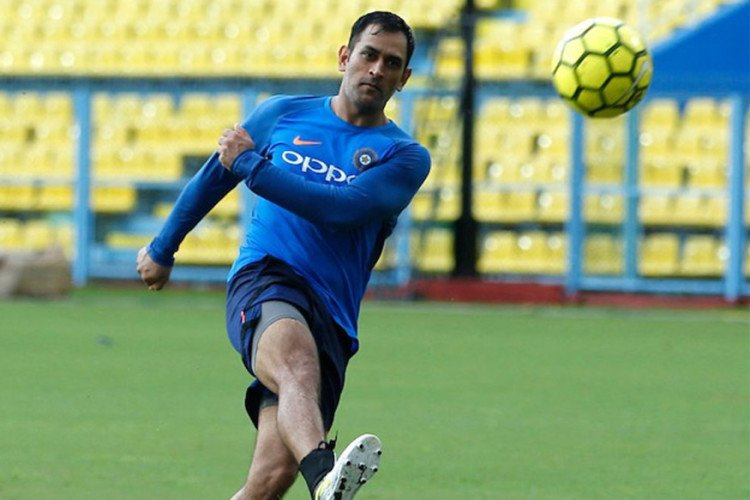 Former team india skipper MS Dhoni Takes on the Kiwis in a Game of Soccer Volleyball