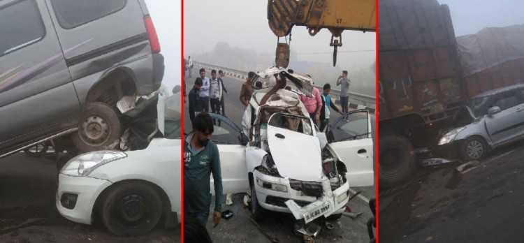 accident of two dozen vehicles due to smog in palwal