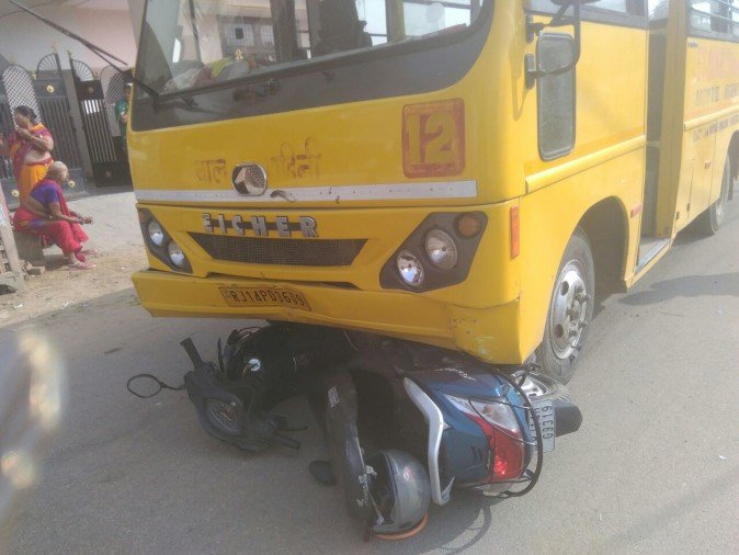 A student got death in road accident of his school bus