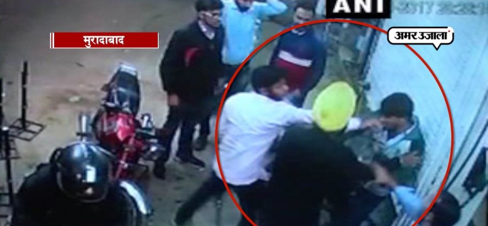 PETROL PUMP WOKRER THRASED AT MORADABAD OF UTTAR PRADESH