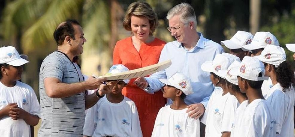 Belgiums Royal couple King Philippe and Queen Mathilde play cricket in Mumbai