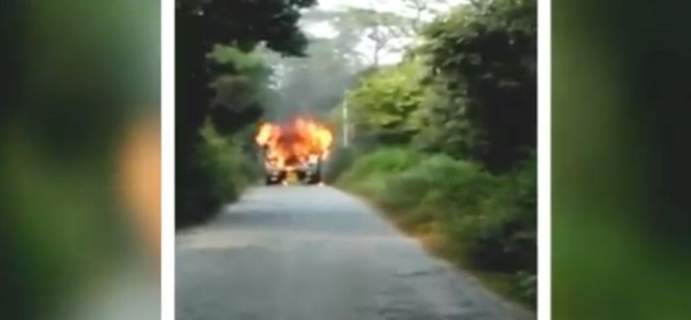 Watch: Oil tanker catches fire near Ghonti Chowki area