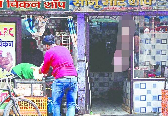 illegal meat shop , open sale of meat
