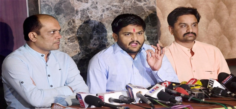 see pictures, hardik patel press conference in Ahmedabad